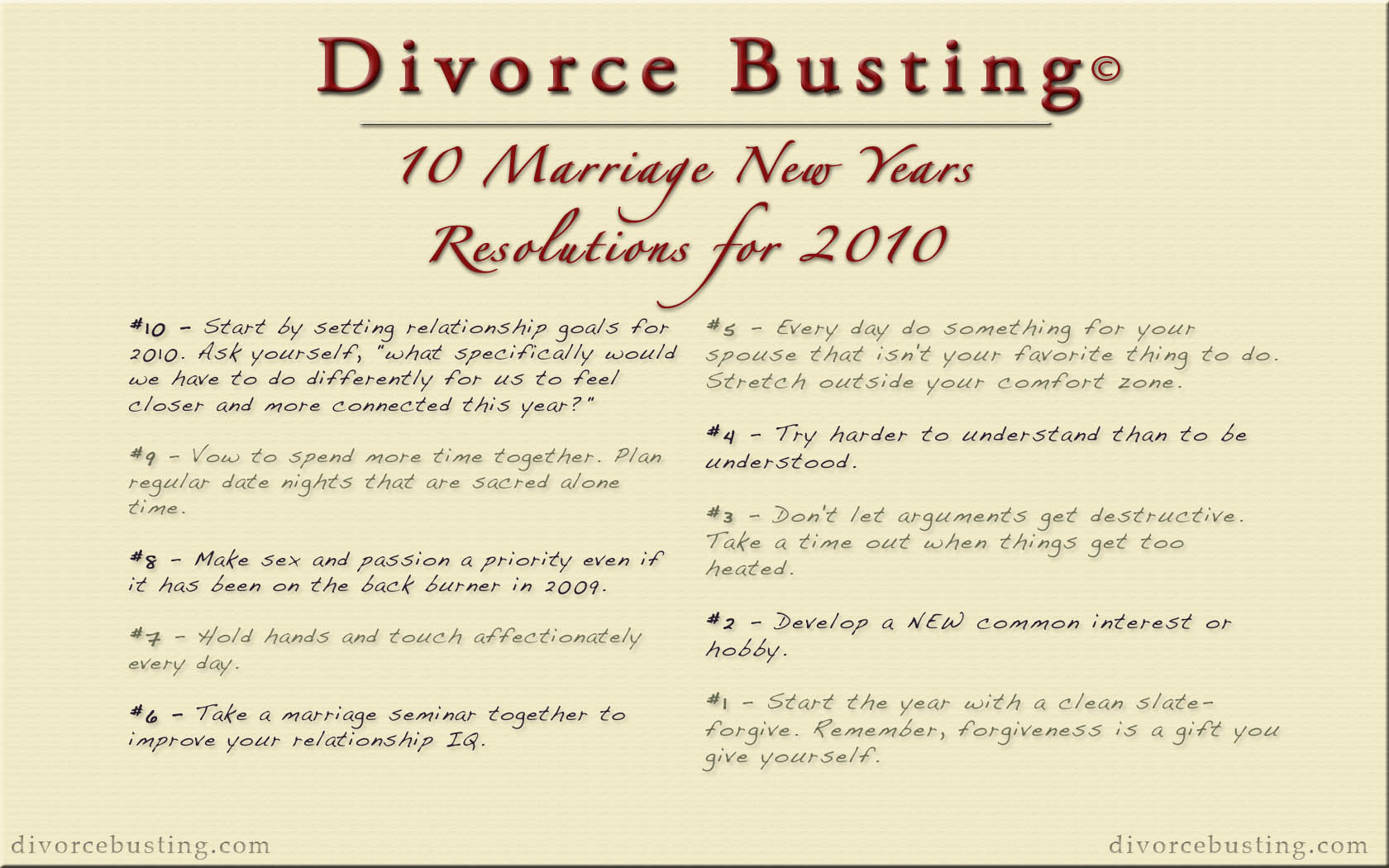 10 Marriage New Years Resolutions for 2010 | Divorce Busting