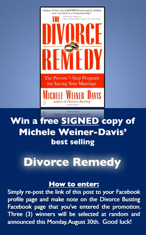 How to enter: Simply re-post the link of this post to your Facebook profile page and make note on the Divorce Busting Facebook page that you've entered the promotion. Three (3) winners will be selected at random and announced this Monday, August 30th. Good luck!